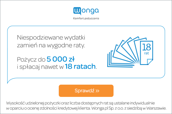 Wonga - pożyczka ratalna w super cenie!