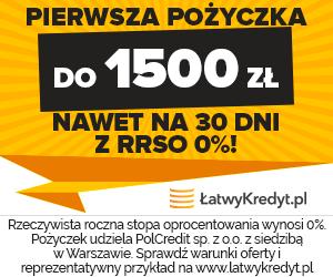 1500 zł za darmo na 30 dni - RRSO 0% przy Łatwy Kredyt