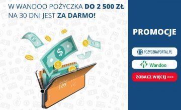 W Wandoo pożyczka do 2500 zł na 30 dni jest za darmo!