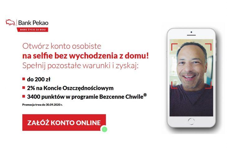 Jak otrzymać 200 zł bonusu od Pekao S.A. za konto na selfie?