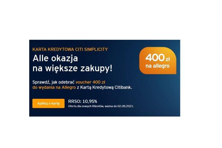 Jak otrzymać bon 400 zł na Allegro za nową kartę kredytową Citi?